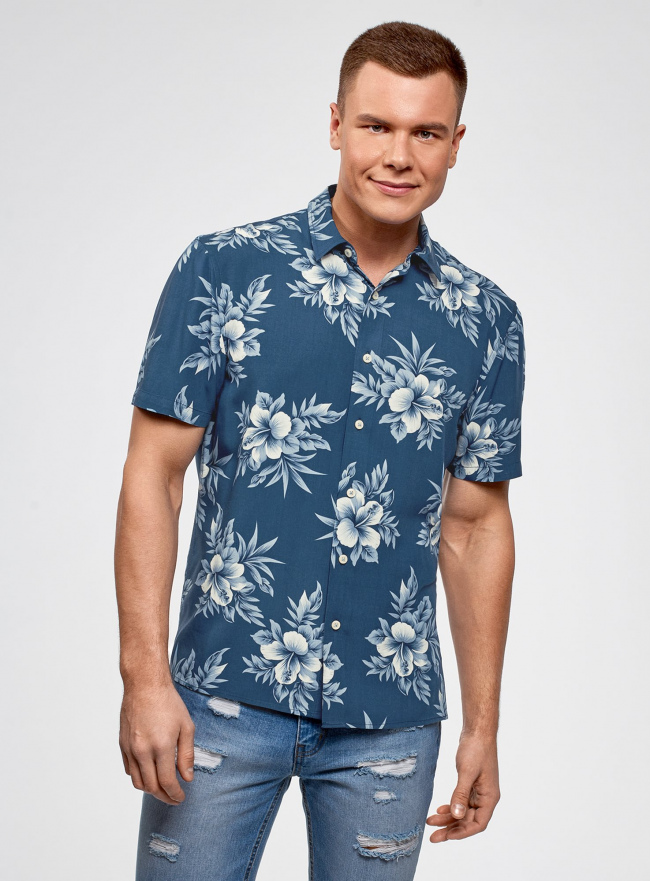 Рубашка прямая с цветочным принтом oodji #SECTION_NAME# (синий), 3L400003M/48205N/7974F