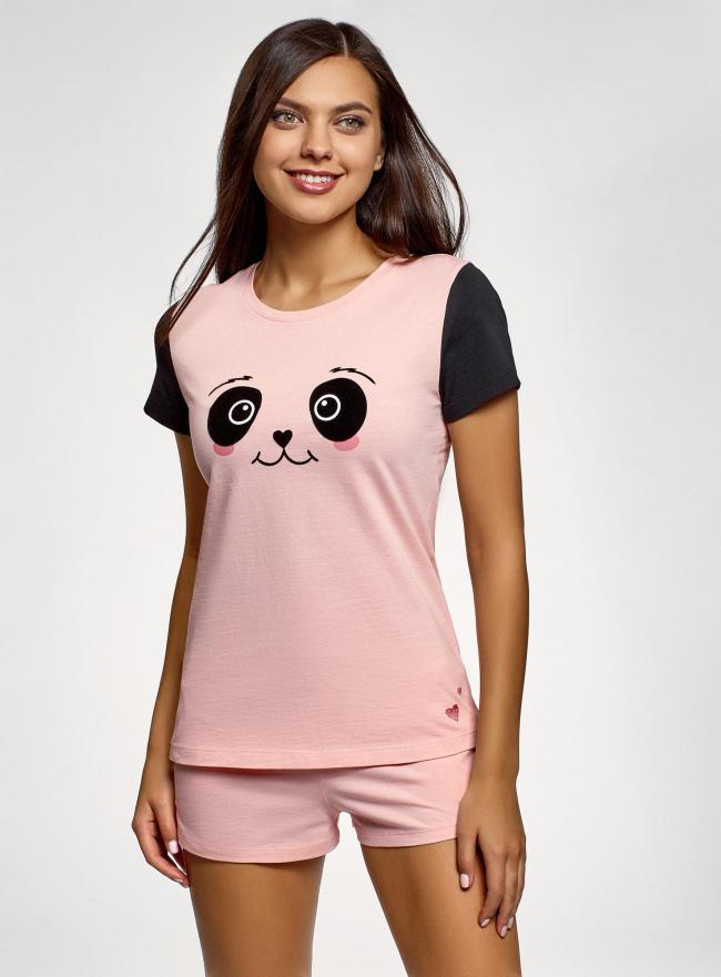 Пижама хлопковая с принтом oodji #SECTION_NAME# (розовый), 56002228/46158/4029P