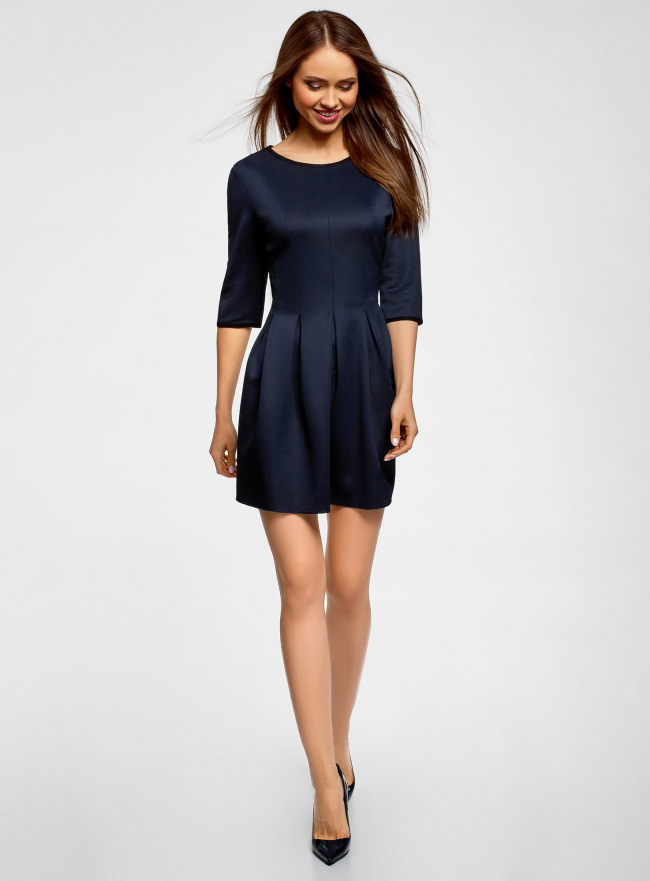 Платье трикотажное со складками на юбке oodji #SECTION_NAME# (синий), 14001148-1/33735/7900N