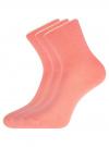Комплект из трех пар хлопковых носков oodji для женщины (розовый), 57102804T3/48022/29 - вид 2