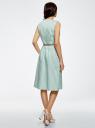 Платье с поясом без рукавов oodji #SECTION_NAME# (зеленый), 12C13008-1/46683/6512S - вид 3