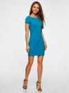 Платье трикотажное с вырезом-лодочкой oodji #SECTION_NAME# (синий), 14001117-2B/16564/7501N - вид 6