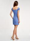 Платье хлопковое со сборками на груди oodji #SECTION_NAME# (синий), 11902047-2B/14885/7500N - вид 3