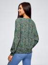 Блузка принтованная с вырезом-лодочкой oodji #SECTION_NAME# (зеленый), 21400405/26546/6E35E - вид 3