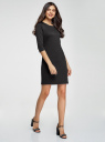 Платье трикотажное с рукавом 3/4 oodji #SECTION_NAME# (черный), 24001100-2/42408/2900N - вид 6