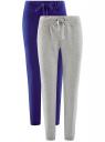 Комплект трикотажных брюк (2 пары) oodji для женщины (серый), 16700030-15T2/46173/2375N
