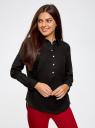 Рубашка хлопковая свободного силуэта oodji #SECTION_NAME# (черный), 11411101B/45561/2900N - вид 2