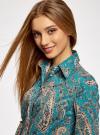 """Рубашка хлопковая с принтом """"пейсли"""" oodji #SECTION_NAME# (бирюзовый), 21402212-1/45966/7355E - вид 4"""