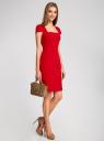 Платье-футляр из плотной ткани с квадратным вырезом oodji для женщины (красный), 21902065/31291/4500N