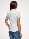 Рубашка хлопковая с коротким рукавом oodji #SECTION_NAME# (слоновая кость), 13K01004B/33081/1025S - вид 3