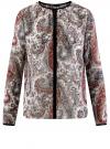 Блузка из струящейся ткани с контрастной отделкой oodji #SECTION_NAME# (разноцветный), 11411059-2/38375/3045E