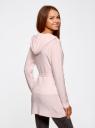 Кардиган удлиненный с капюшоном и карманами oodji #SECTION_NAME# (розовый), 73207204-2/45963/4000N - вид 3