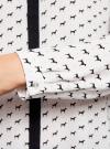 Блузка из струящейся ткани с контрастной отделкой oodji #SECTION_NAME# (белый), 11411059/43414/1029K - вид 5