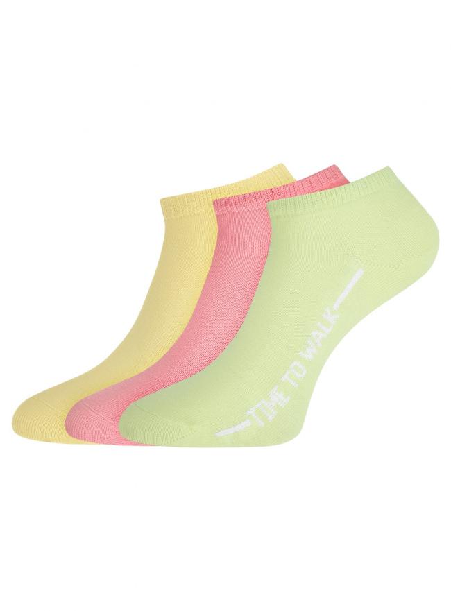 Комплект из трех пар укороченных носков oodji для женщины (разноцветный), 57102433T3/47469/75