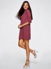 Платье трикотажное в полоску oodji для женщины (красный), 14001162-1/43603/4910S - вид 6