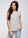 Блузка с короткими рукавами и нагрудными карманами oodji #SECTION_NAME# (белый), 21412132-2B/24681/1229G - вид 2