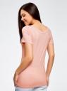 Футболка базовая из вискозы oodji для женщины (розовый), 14701082/48247/4000N