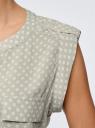 Блузка с короткими рукавами и нагрудными карманами oodji #SECTION_NAME# (зеленый), 21412132-2B/24681/6010G - вид 5