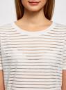 Топ с прозрачными полосками oodji для женщины (белый), 14301002-1/33520/1200N