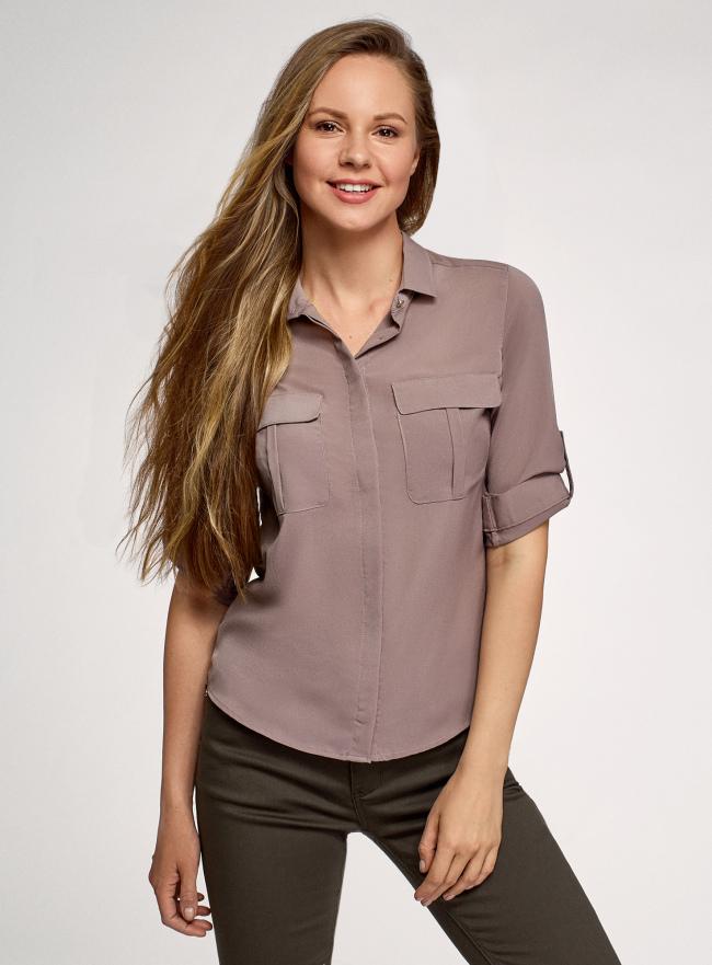 Блузка из струящейся ткани с регулировкой длины рукава oodji для женщины (коричневый), 11403225-10B/46123/3700N