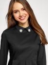 Блузка с баской и декором на воротнике  oodji #SECTION_NAME# (черный), 13K00001-2B/42083/2900N - вид 4