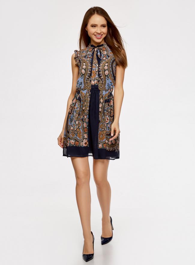 Платье шифоновое с принтом в восточном стиле oodji для женщины (синий), 11900188-1/15018/7975F