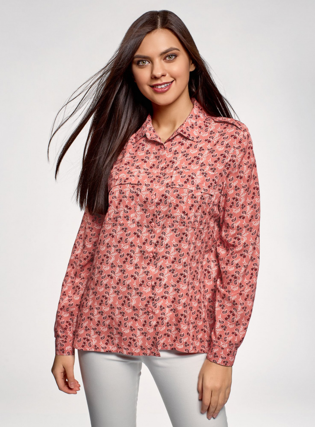 Блузка вискозная с нагрудными карманами oodji #SECTION_NAME# (розовый), 11411127-1B/42807/4312E