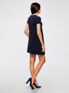 Платье А-образного силуэта в рубчик oodji для женщины (синий), 14000157/45997/7900N - вид 3