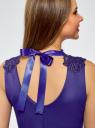 Платье с кружевной отделкой по горловине oodji #SECTION_NAME# (синий), 24015001-1/33038/7501N - вид 4