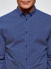 Рубашка принтованная из хлопка oodji для мужчины (синий), 3B110027M/19370N/7510G - вид 4