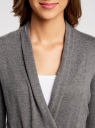 Кардиган без застежки с поясом oodji для женщины (серый), 73212237-1/18715/2500M