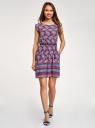 Платье вискозное с поясом oodji #SECTION_NAME# (фиолетовый), 11910073-3B/26346/8373E - вид 2