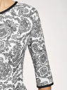 Платье трикотажное со складками на юбке oodji #SECTION_NAME# (белый), 14001148-1/33735/1229E - вид 5