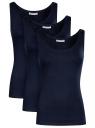 Комплект из трех базовых маек oodji для женщины (синий), 14315002T3/46154/7900N