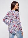 Блузка вискозная А-образного силуэта oodji #SECTION_NAME# (синий), 21411113B/26346/7045F - вид 3