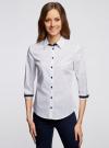 Рубашка хлопковая с рукавом 3/4 oodji #SECTION_NAME# (белый), 11403201-2/26357/1079D - вид 2