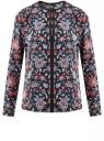 Блузка из струящейся ткани с контрастной отделкой oodji #SECTION_NAME# (разноцветный), 11411059B/43414/7945F