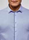 Рубашка приталенная с контрастной отделкой oodji #SECTION_NAME# (синий), 3B140006M/34146N/7079B - вид 4