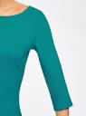 Платье трикотажное базовое oodji #SECTION_NAME# (бирюзовый), 14001071-2B/46148/7300N - вид 5