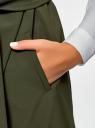 Жилет с запахом и поясом oodji для женщины (зеленый), 22304001/45559/6800N
