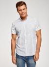 Рубашка принтованная приталенного силуэта oodji #SECTION_NAME# (белый), 3L210036M/19370N/1079E - вид 2