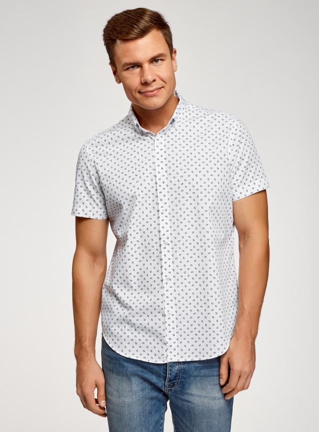 Рубашка принтованная приталенного силуэта oodji #SECTION_NAME# (белый), 3L210036M/19370N/1079E