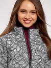 Куртка стеганая принтованная oodji #SECTION_NAME# (белый), 10207002-1/45419/1029E