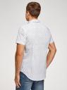 Рубашка принтованная приталенного силуэта oodji #SECTION_NAME# (белый), 3L210036M/19370N/1079E - вид 3