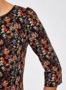 Платье из плотной ткани с отделкой из искусственной кожи oodji для женщины (черный), 11902145-2/42510/2955F